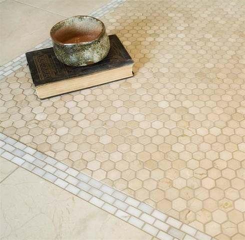 Mosaic Rug Crema Marfil Tile Bathroom Hexagonal Mosaic Hexagon Tiles