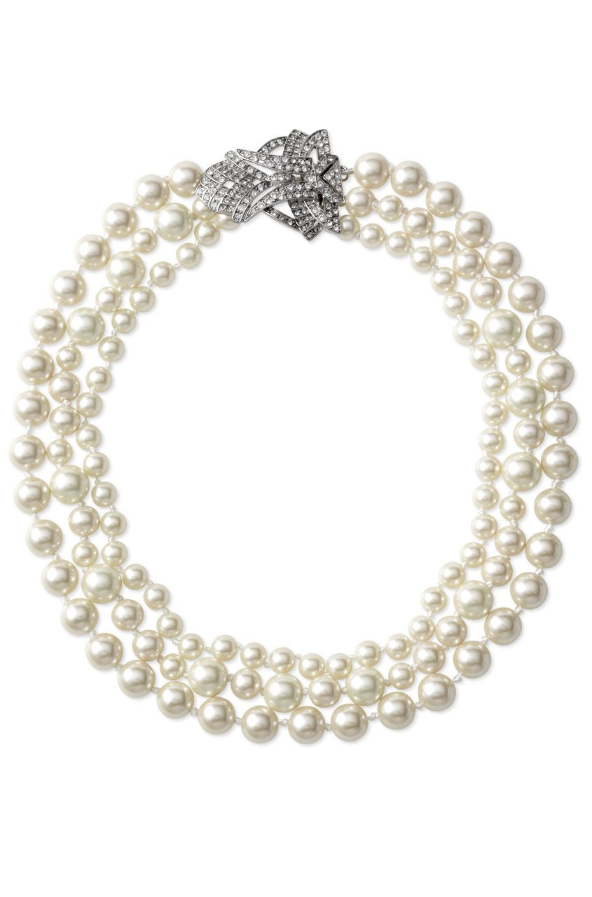 3bda55f977138 Vintage Inspired Steel Chain Pearl Necklace | Daisy Pearl Necklace ...