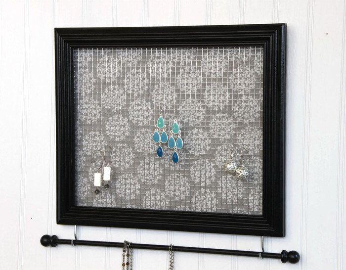 Jewelry Holder Black Framed Jewelry Organizer Upcycled 8x10