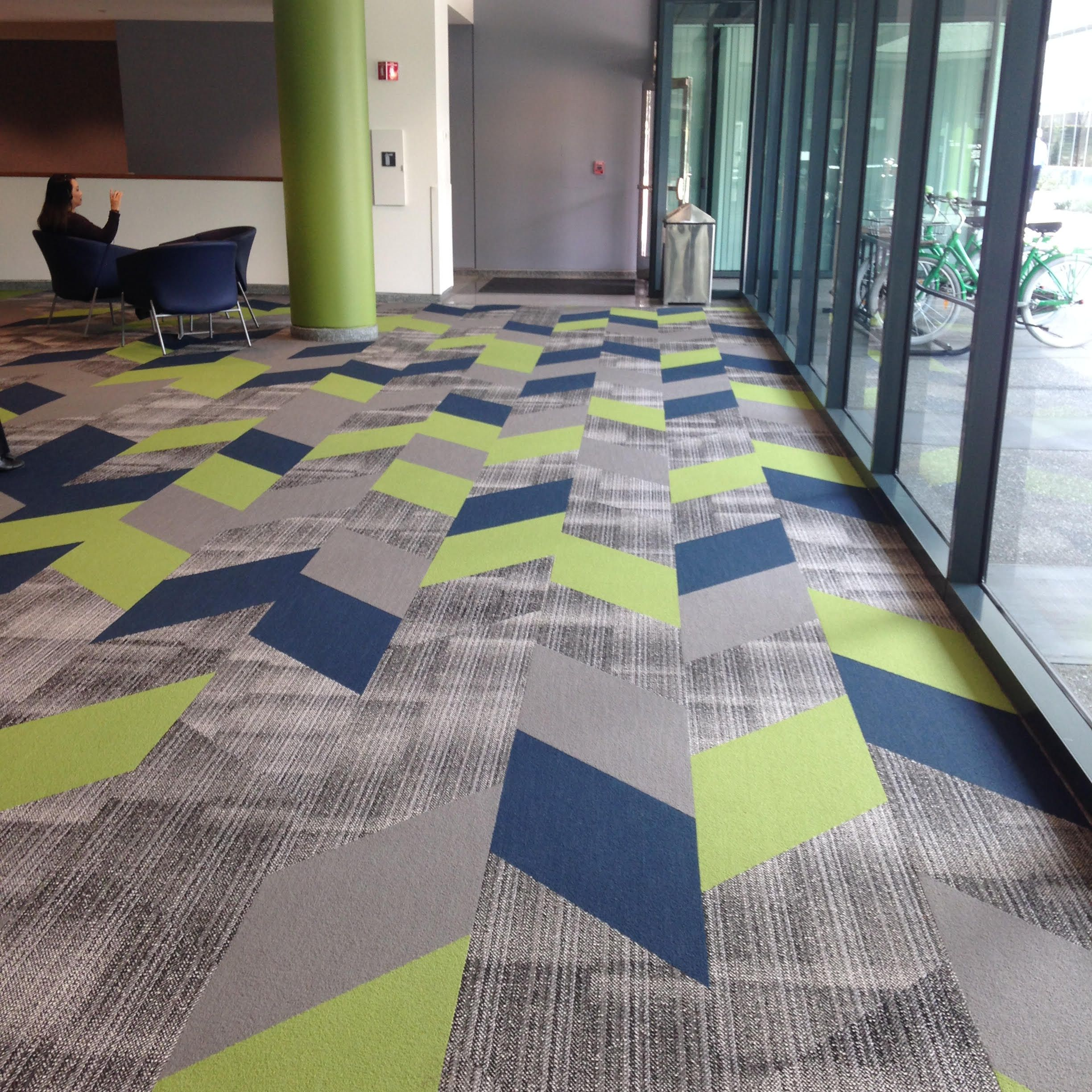 Use Of Mixed Materials Carpet Tile And Resilient In A Public Gathering Space Of College Dormi Carpet Tiles Design Wallpaper Interior Design Carpet Tiles Office