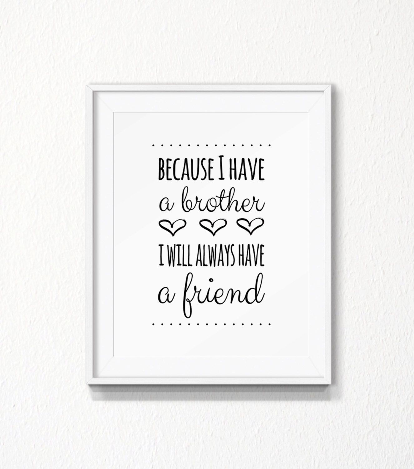 Brothers Quote INSTANT download Nursery brother by PrintableHome