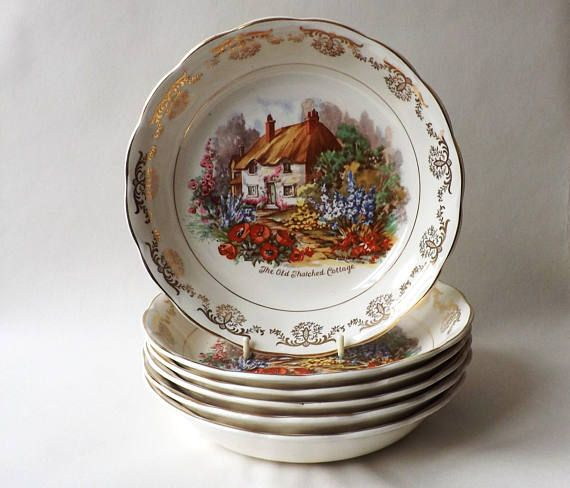 2 Vintage #Soup #Dish #Gold #Chintz #Dinnerware English #Thatched : chintz dinnerware - pezcame.com