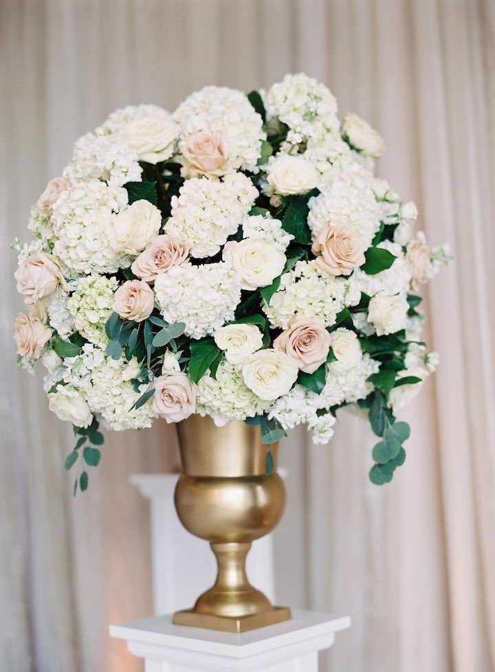 Blush Wedding Flowers Ceremony Plinth Arrangement This Baltimore Evokes Glamour And Elegance