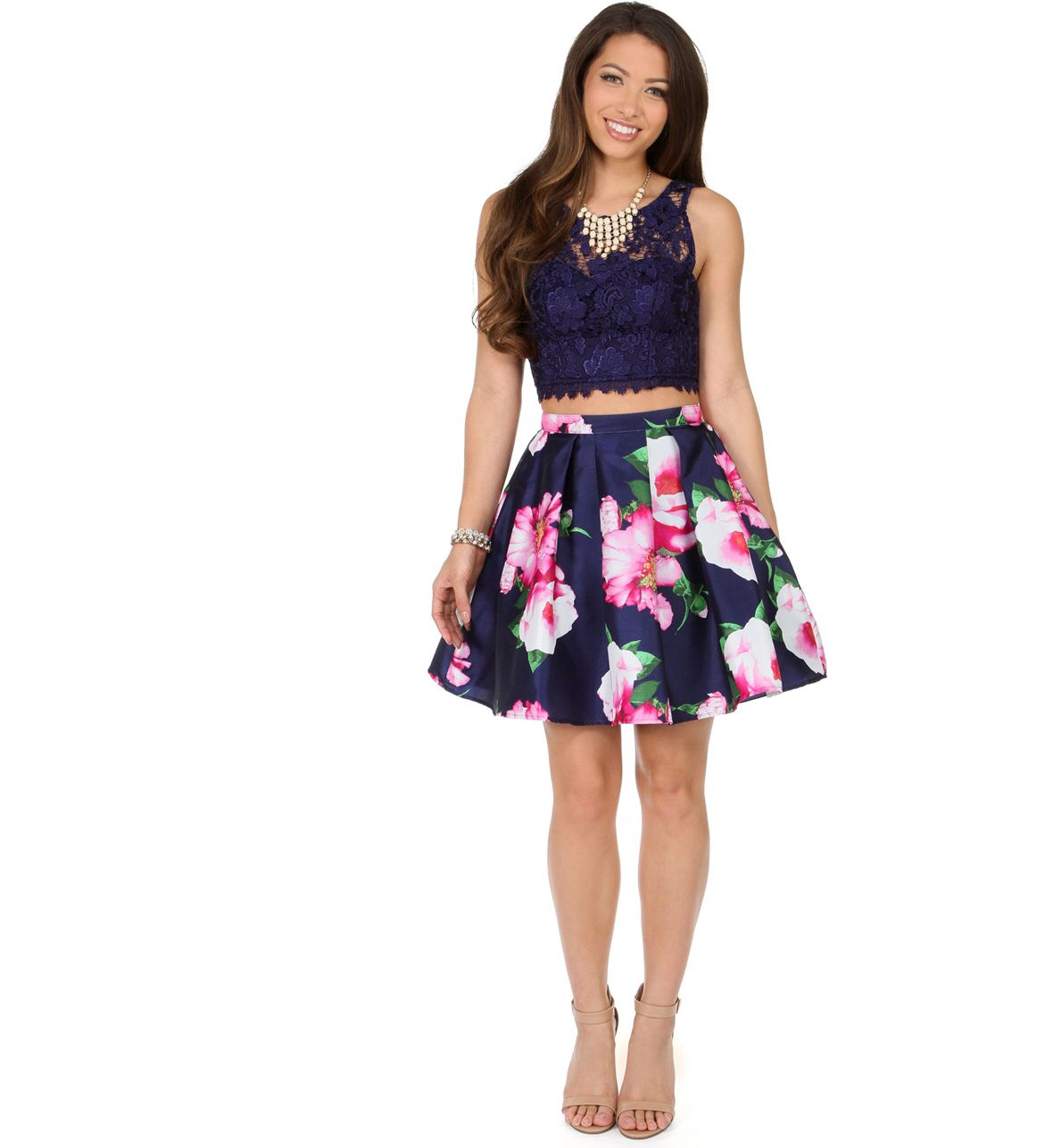 Navy Blue Floral Homecoming Dress From Windsor Lace Crop Tops Fancy Dresses Floral Homecoming Dresses [ 1286 x 1180 Pixel ]
