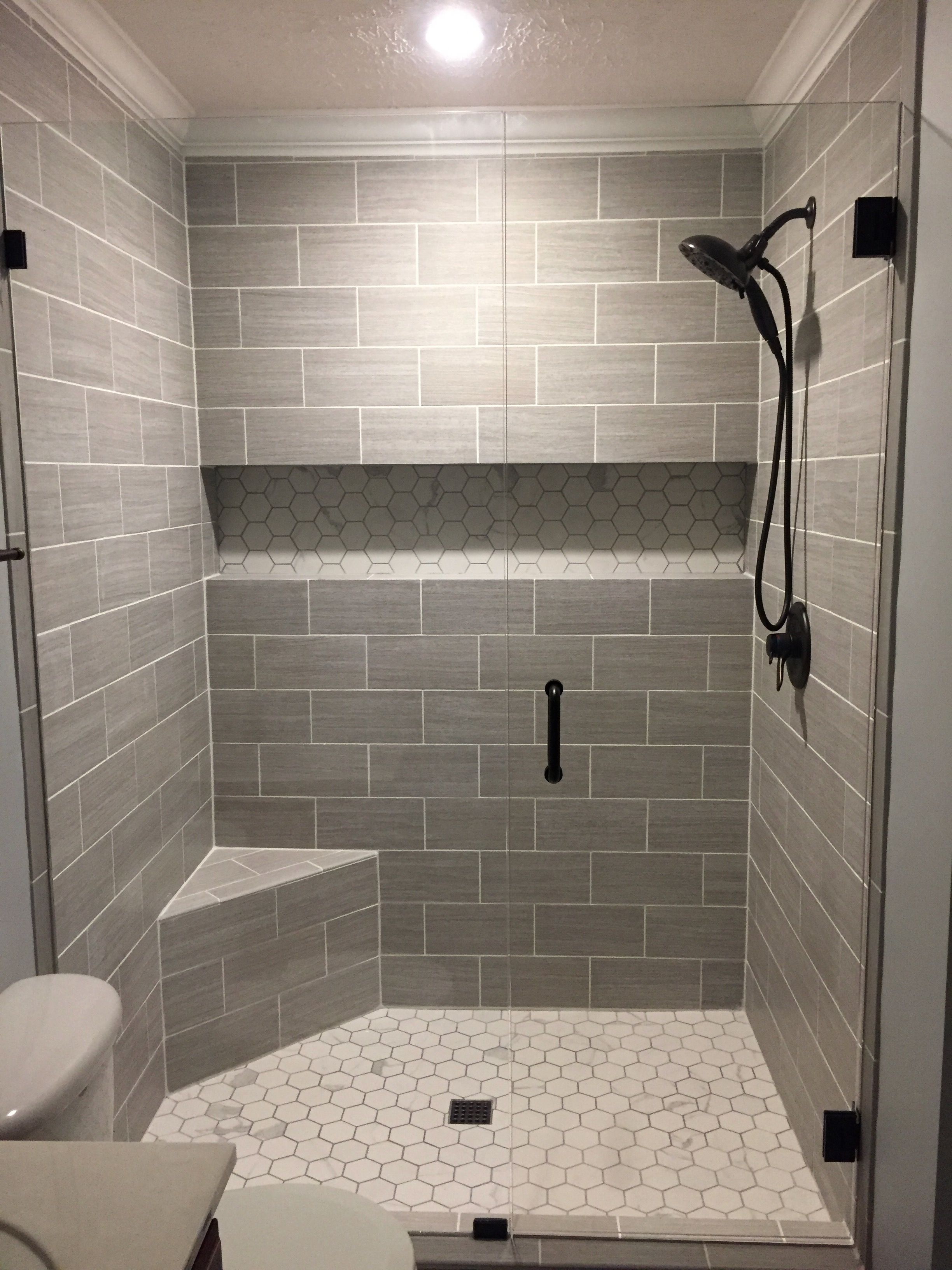 5 Phenomenal Bathroom Tile Combinations: Our Finished Walk-in Shower. Walls: Florim USA 6x24 (cut