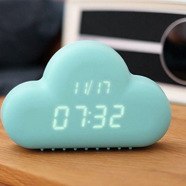 Nube inteligente Llevó Calendario Reloj Despertador Electrónico Digital de Escritorio Relojes de Mesa Creativa Japón Decoración Decoraciones