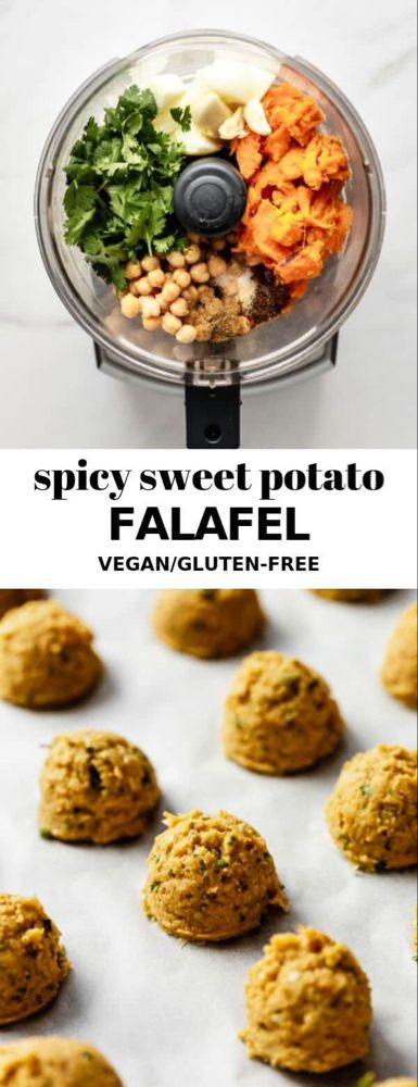 Spicy sweet potato falafel This spicy sweet potato falafel recipe is easy to make and is great for food prep! This recipe is naturally vegan and gluten-free for a healthy meal.