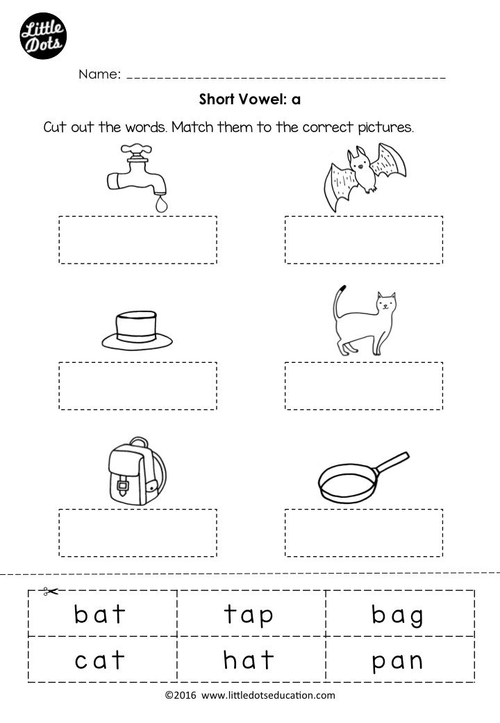 Free Phonics Short Vowel A Worksheet For Preschool Or Kindergarten Class Middle Sounds Worksheet Short Vowel Worksheets Middle Sounds