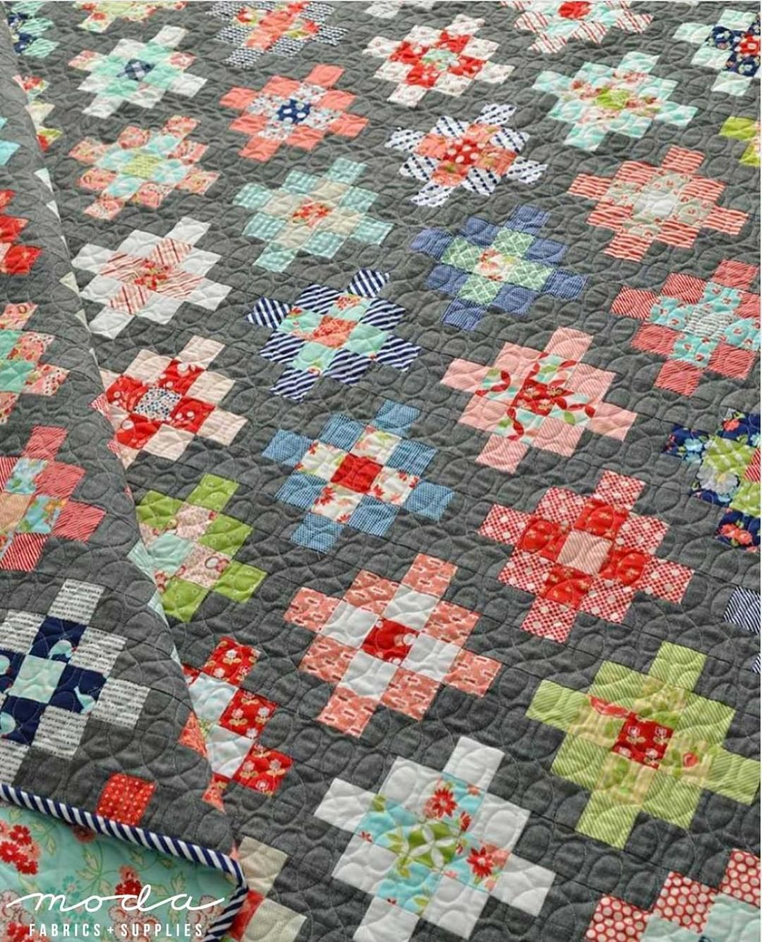 """MODA Fabric + Supplies on Instagram: """"This quilt Takes the Cake - two Layer Cakes.  Camille Roskelley of Thimbleblossoms made this awesome scrap quilt using a mix of 10"""