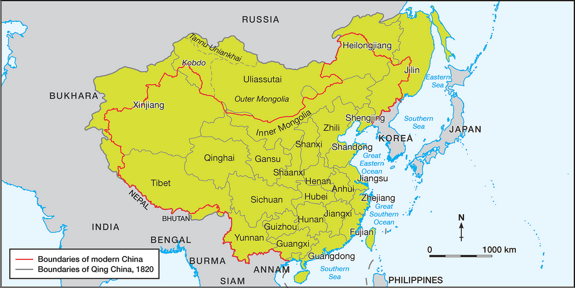 Modern Day China Map.This Map Shows The Location Of The Qing Dynasty In Green Comparing