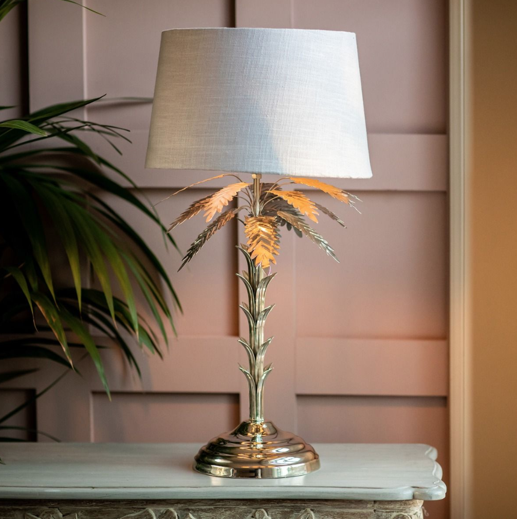CULINARY CONCEPTS PALM TREE SILVER TABLE LAMP