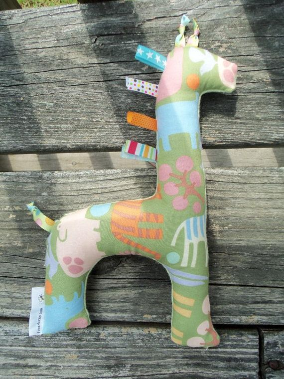 Giraffe Toy Jungle Print and Green Flannel by fivebees on Etsy, $12.75