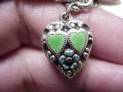VINTAGE Sterling Silver ENAMELED REPOUSSE PUFFED HEART Charm w/HEARTS, 1940s sold 65.00