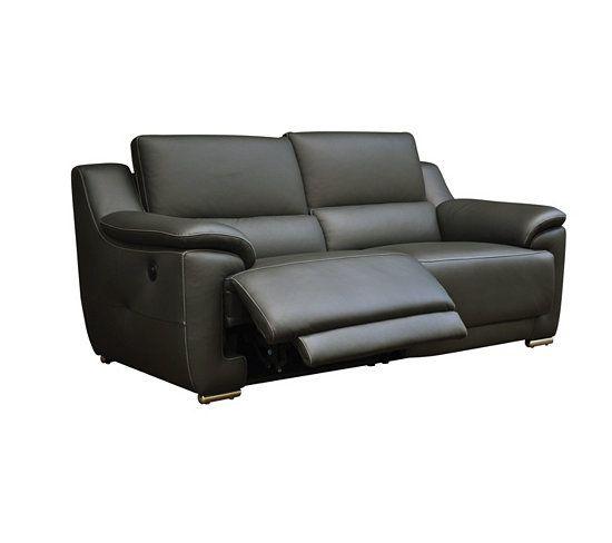 Canapes Canape 3 Places 2 Relax Electrique Vogg Cuir Croute Cuir Gris Fonce Canape Meuble Canape Canape 3 Places