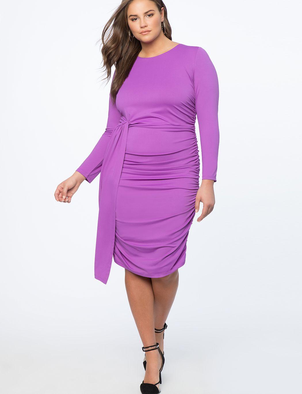 af93e322b95 Ruched Dress with Skirt Overlay Deep Violet
