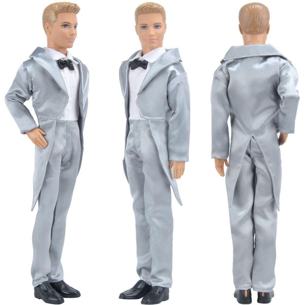 E-TING Hot Sale Doll Clothes Fantasy Silver Formal Tuxedo Wedding ...