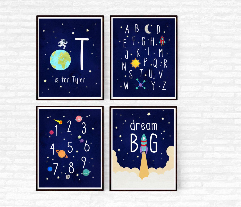 Outer Space Nursery Decor Boy Nursery Set of 4 Prints Printable Alphabet Space Themed Nursery ABC Nursery Wall Art Dream Big Rocket Ship