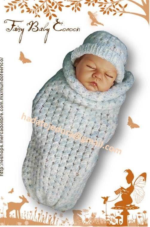 Capullo para bebé tejido en dos agujas con estambre facetado en ...