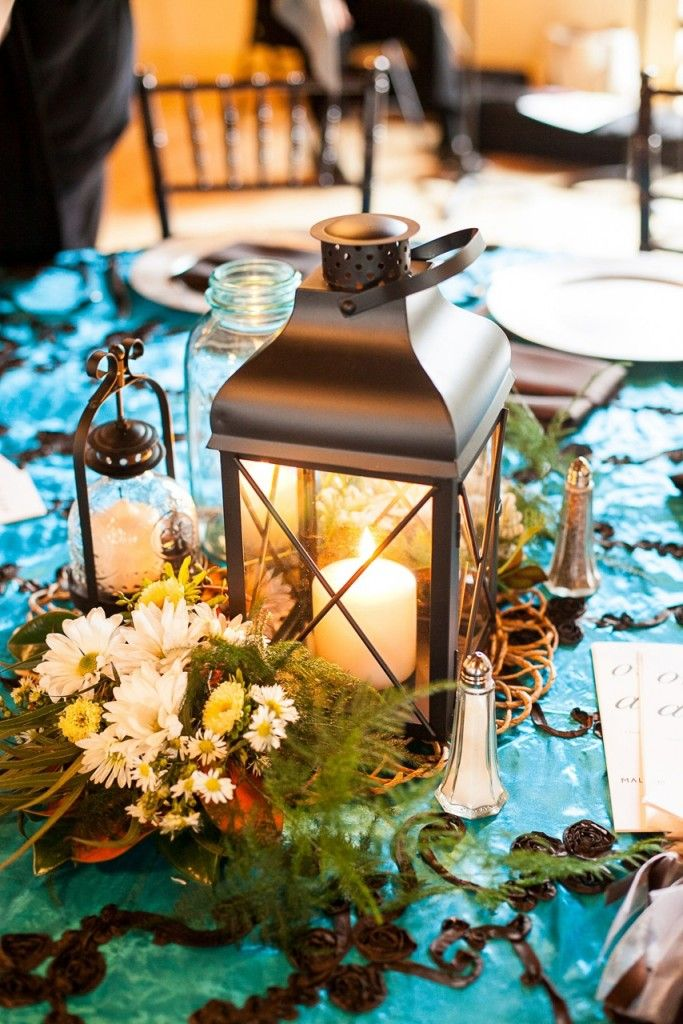 Aqua blue and brown wedding linens with lantern