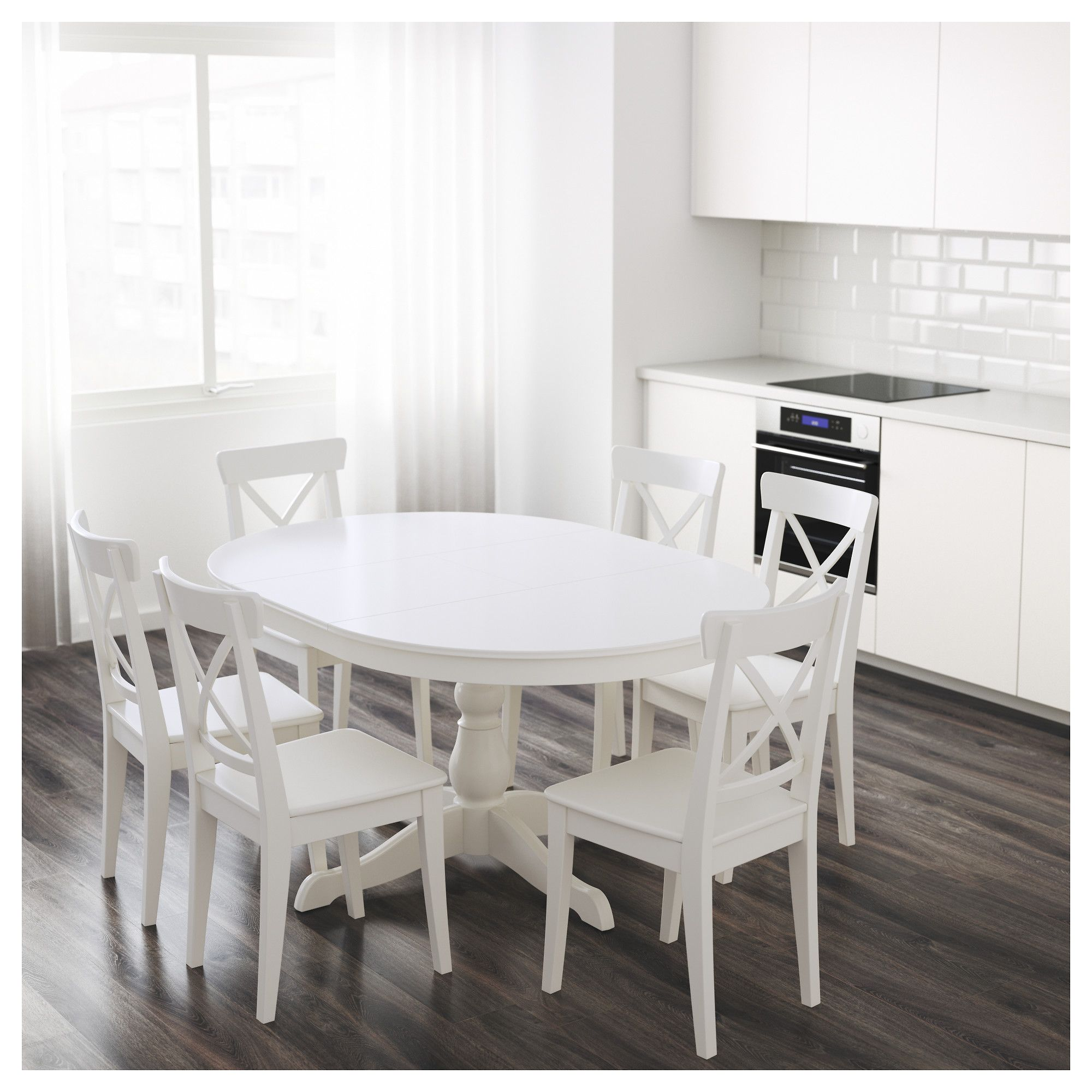Ingatorp разтегателна маса Ikea Table Ronde White Dining Round