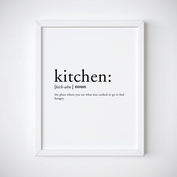 Kitchen Dictionary: Kitchen Definition Kitchen Print Dictionary By