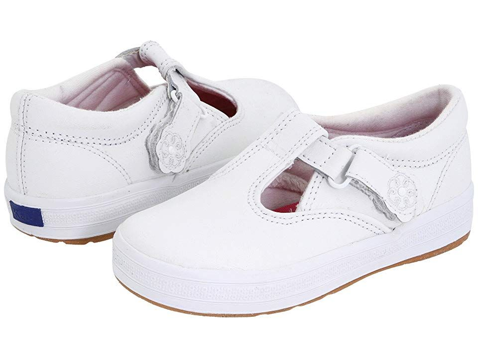 Keds Kids Daphne T-Strap 2 (Toddler/Little Kid) - Girls Shoes : White Leather : Classic T-strap for your classic little girl. Leather upper. Hook-and-loop closure with embroidered flower on strap. Textile lining and padded insole for comfort. Flexible, lightweight rubber outsole. Imported. An ideal choice for school uniforms. Measurements: Weight: 5 oz Product measurements were taken using size 8.5 Toddler, width M. Please note that measurements may vary by size. Weight of footwear is based on a