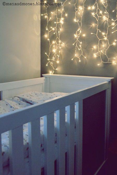 Baby S Corner Painted Crib Christmas Lights Backdrop Night Light
