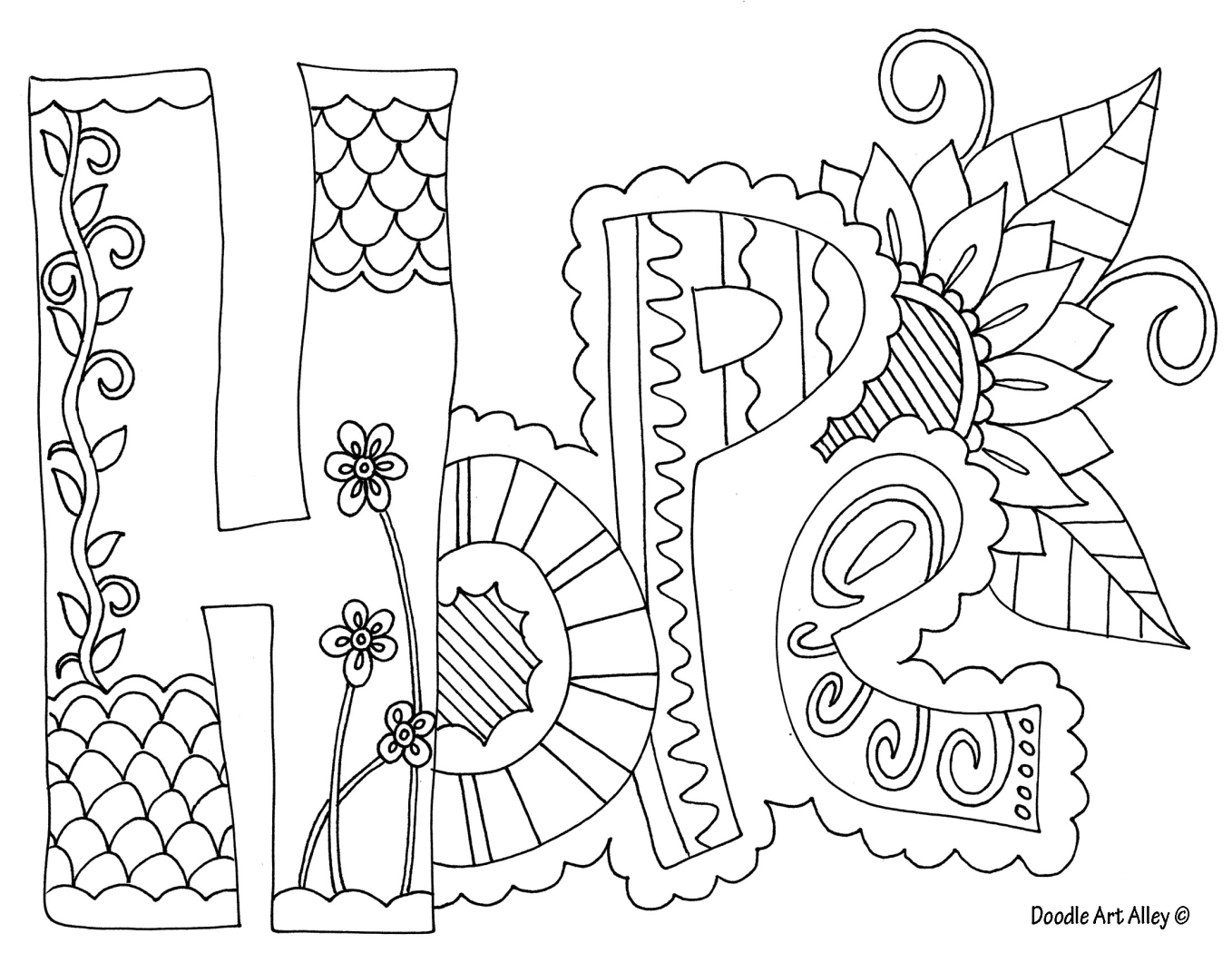 Hope coloring page to encourage discussion in a creative