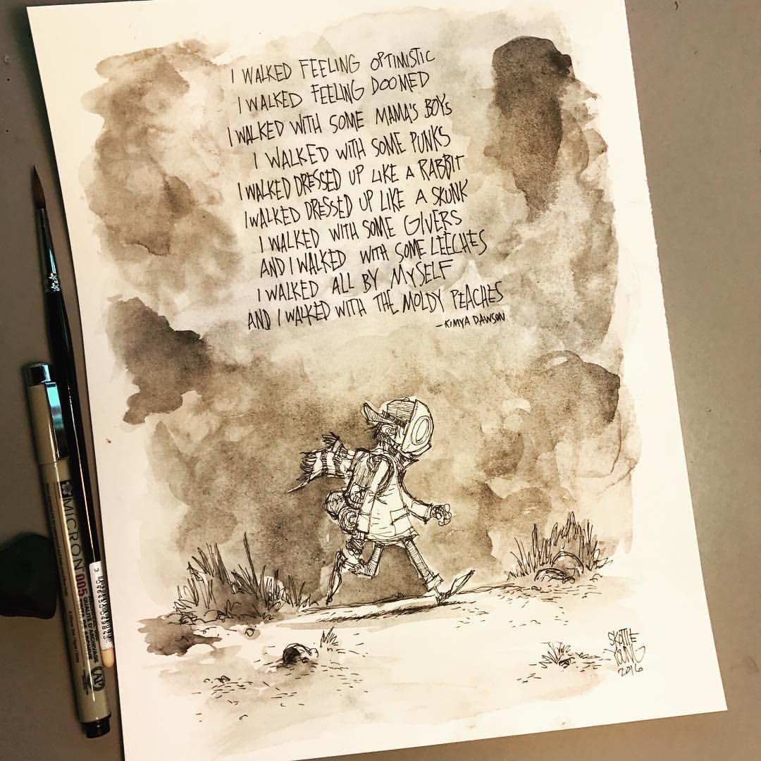 Boy, Walk like thunder. Lyrics by @kimyadawson Original available http://skottieyoungstore.bigcartel.com #dailysketch #inktober #inktober2016