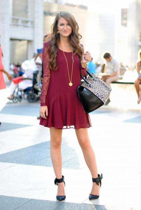 156064f1 como combinar un vestido burdeo | Cosas que adoro | Vestidos, Moda ...