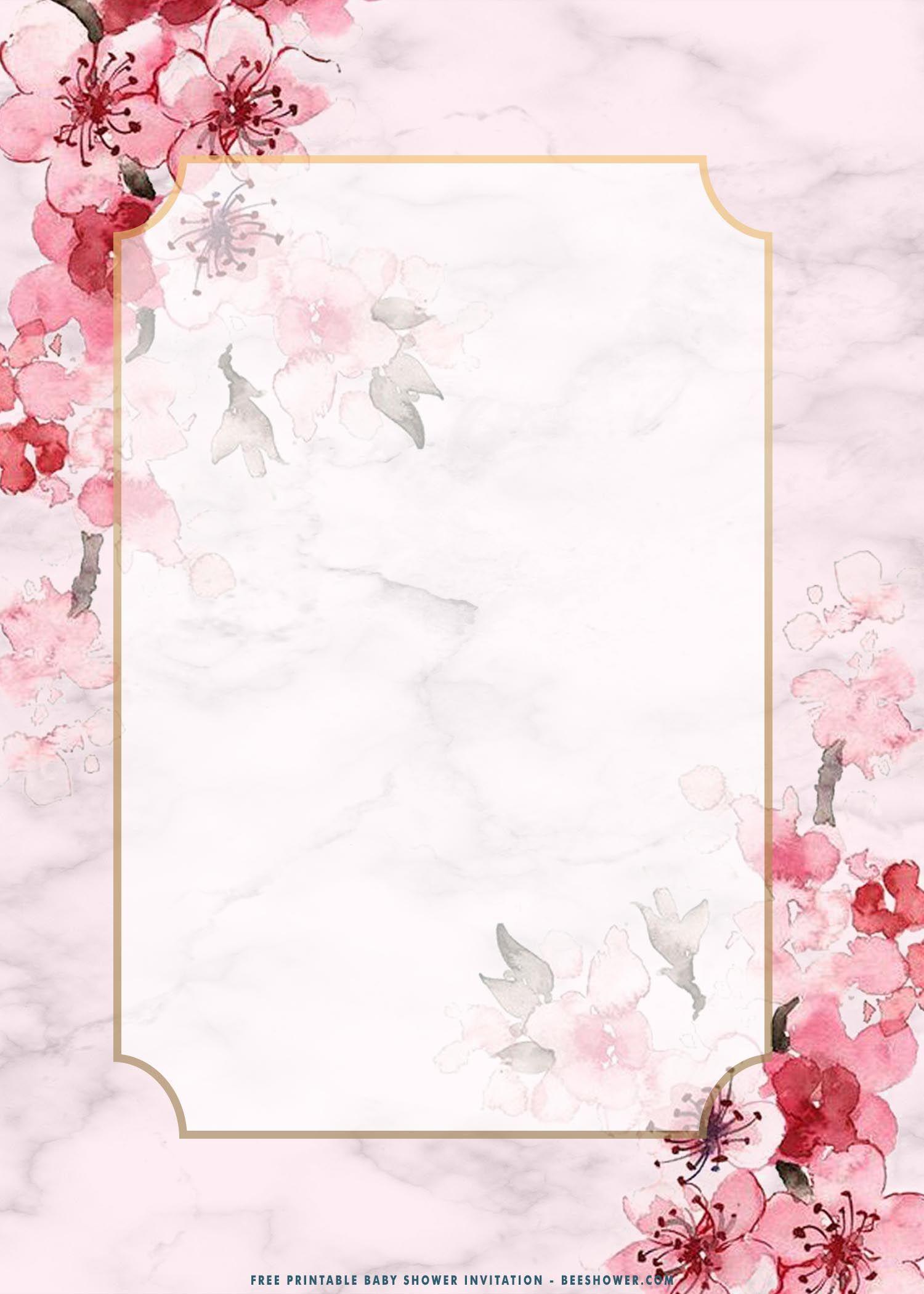 (FREE Printable) – Blush Pink Sakura Baby Shower Invitation Templates | Beeshower