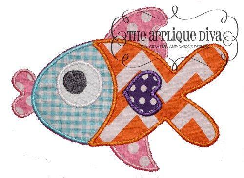 Summer Kiss Fish Digital Embroidery Design Machine Applique