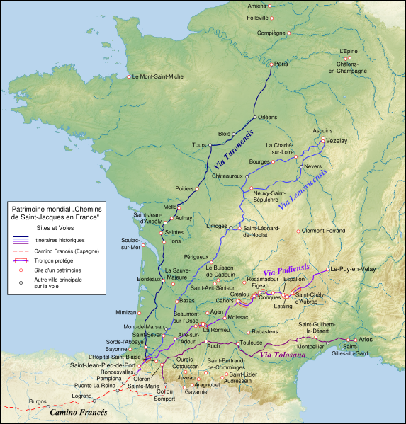 Map of the world heritage sites of the way of st james in france map of the world heritage sites of the way of st james in france gumiabroncs Images