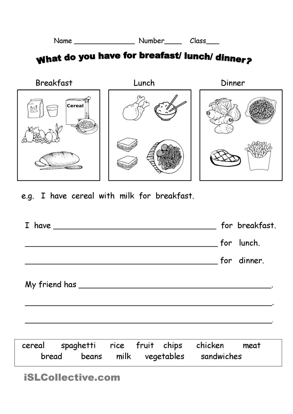 What Do You Have For Breakfast Worksheets Words Vocabulary Worksheets [ 1440 x 1018 Pixel ]