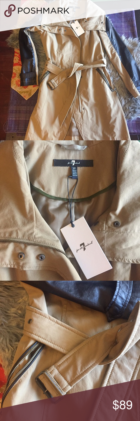 Brand new 7 FOR ALL MANKIND trench! Brand new with tags! Very trendy trench coat with contrasting paneling. 7 For All Mankind Jackets & Coats Trench Coats