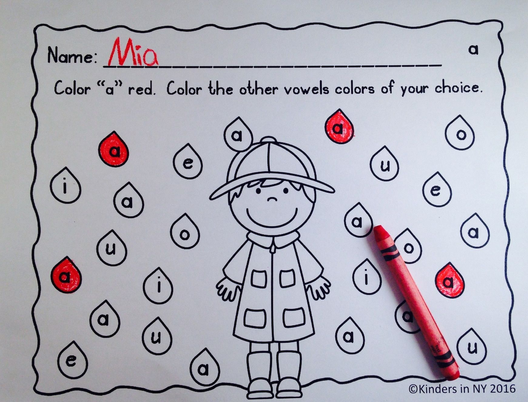 Vowel Recognition Printables Rainy Days