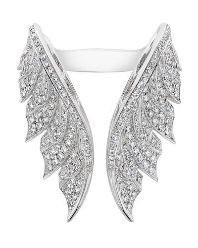 Magnipheasant White Diamond Open Wing Ring Feather Ring White Diamond Ring Jewelry