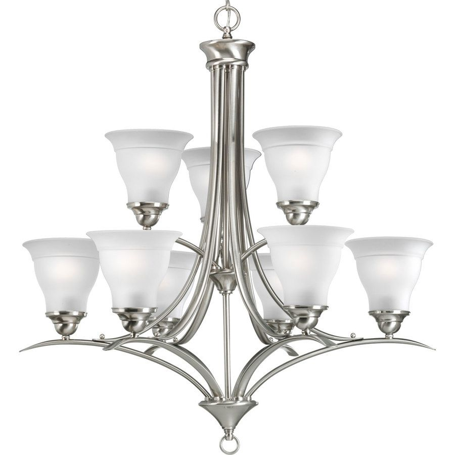 progress lighting trinity 30 in 9 light brushed nickel etched glass