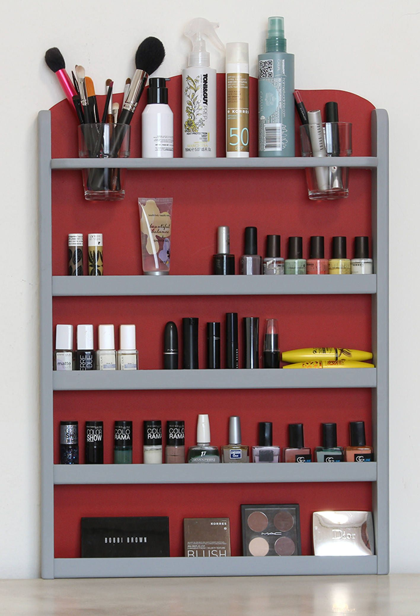 Wall Mounted Makeup Organizer Nail Polish Rack Beauty Etsy Makeup Organization Wall Mounted Makeup Organizer Lipstick Organizer