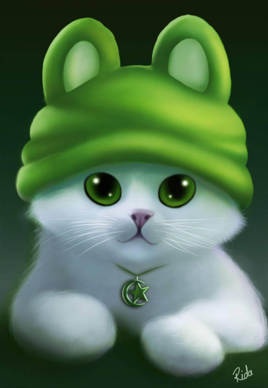 Фото Зеленоглазый белый котенок в зеленой шапке, by ...