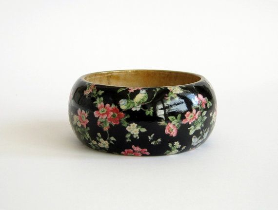 statement jewelry Boho hand decorated bracelet unique gift chunky decoupage bangle wooden bangle Japanese paper decorated bangle