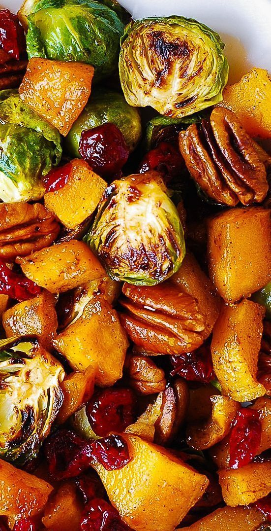 Brussels Sprouts with Cinnamon Butternut Squash, P