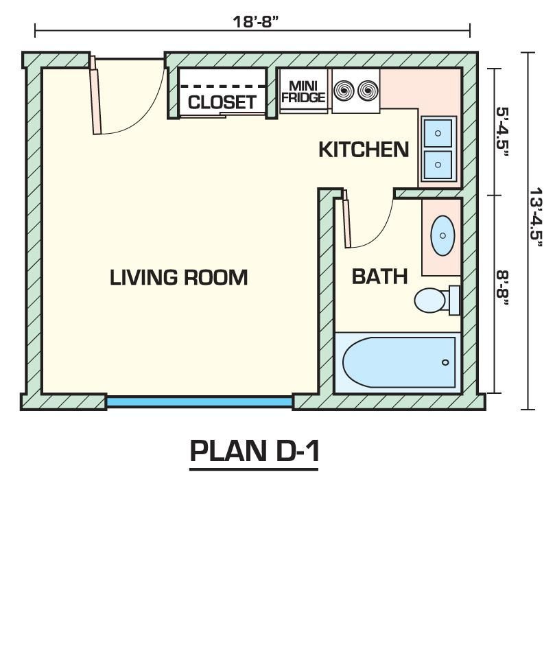 Apartment 14 studio apartments plans inside small 1 for Efficiency apartment floor plans
