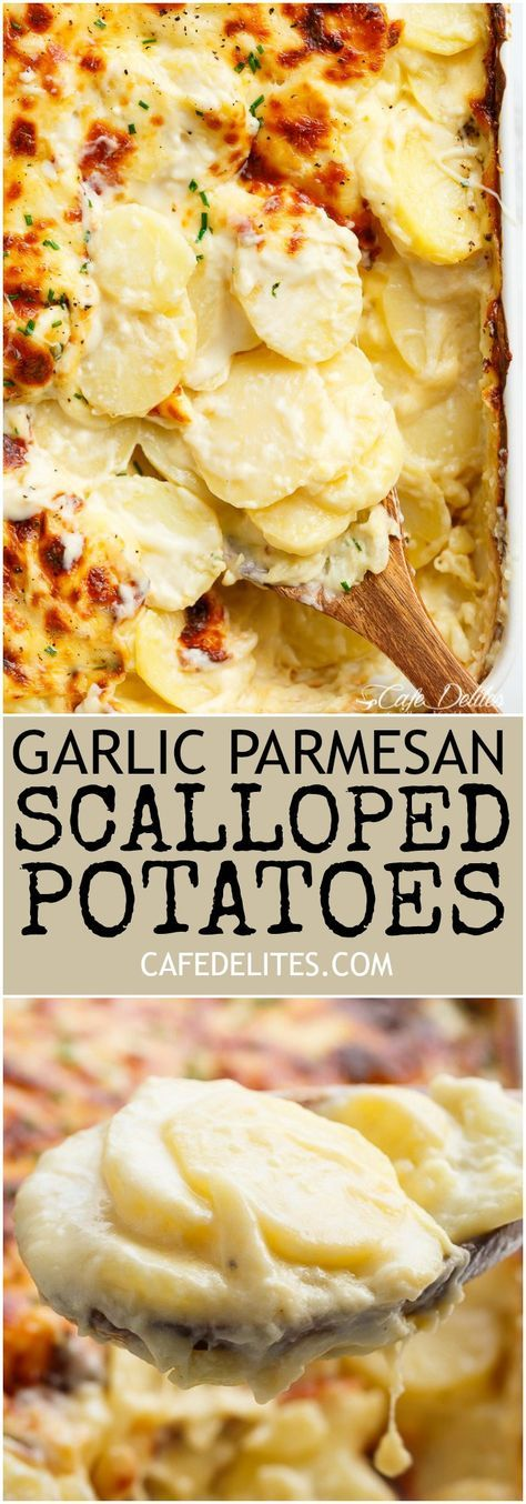 Garlic Parmesan Scalloped Potatoes layered in a creamy garlic sauce with parmesan and mozzarella is the best side dish to any meal! #chickensidedishes