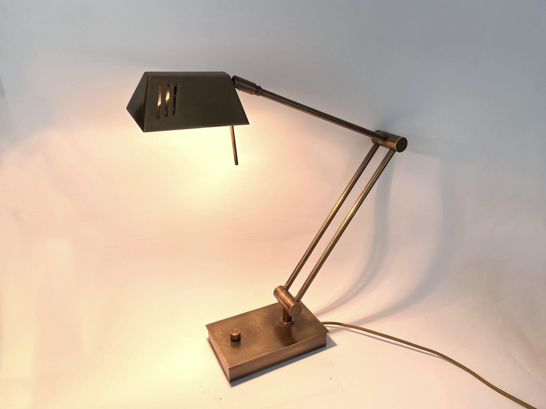 Vintage Halogen Mid Century Modern Style Adjustable Desk Lamp Solid Brass Dimmer Switch Vintage Desk 80s Hollywood Regency In 2020 Home Lighting Lamp Bankers Lamp