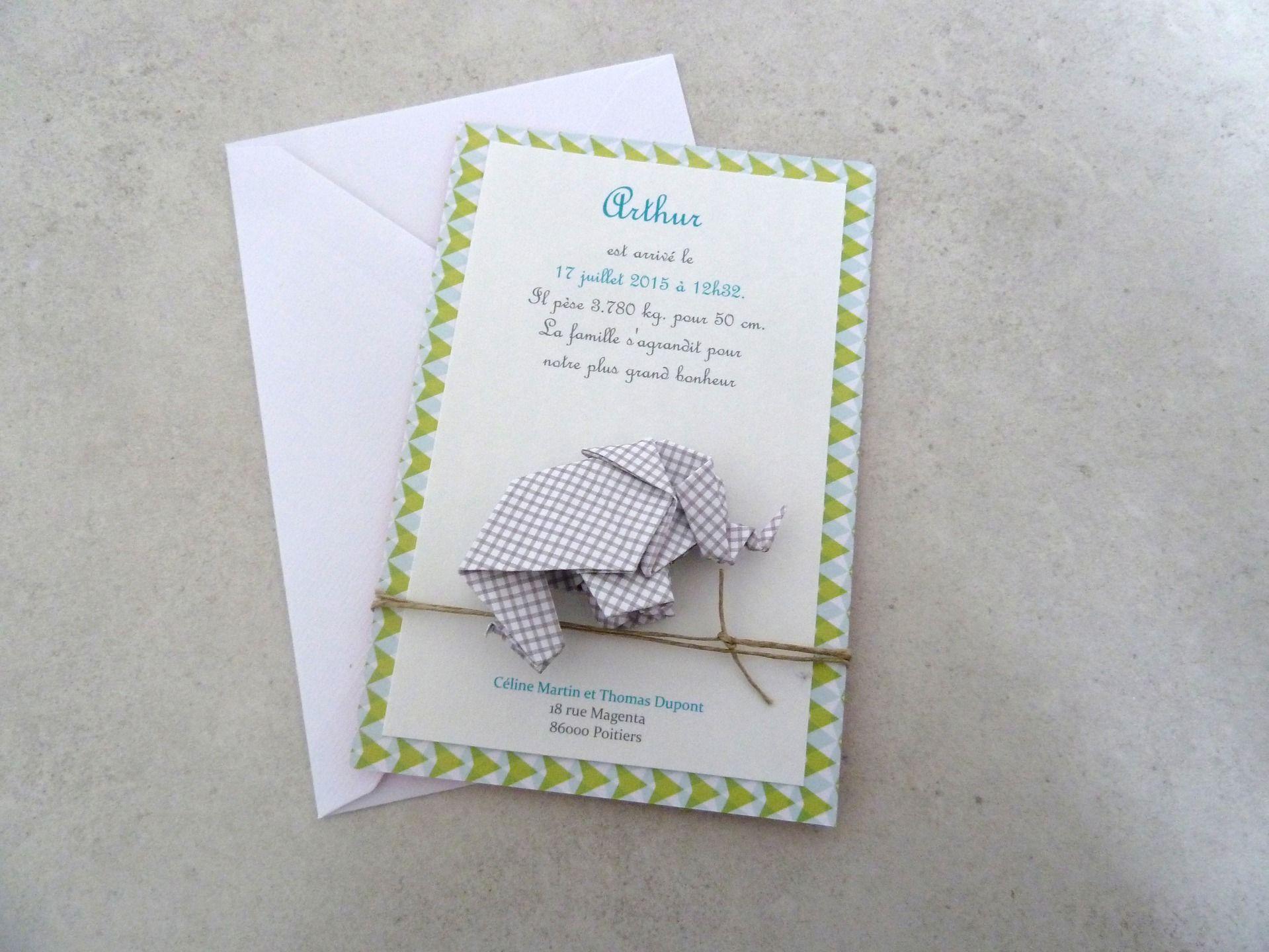 faire part de naissance bapt me carte de remerciement l phant en origami pour gar on. Black Bedroom Furniture Sets. Home Design Ideas