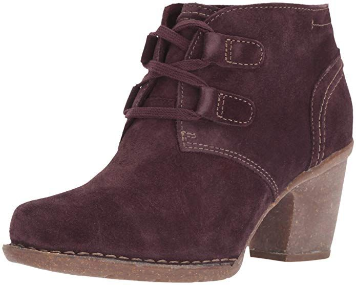 CLARKS Women s Carleta Lyon Fashion Boot, Aubergine Suede, 075 M US ... 336db3ba18