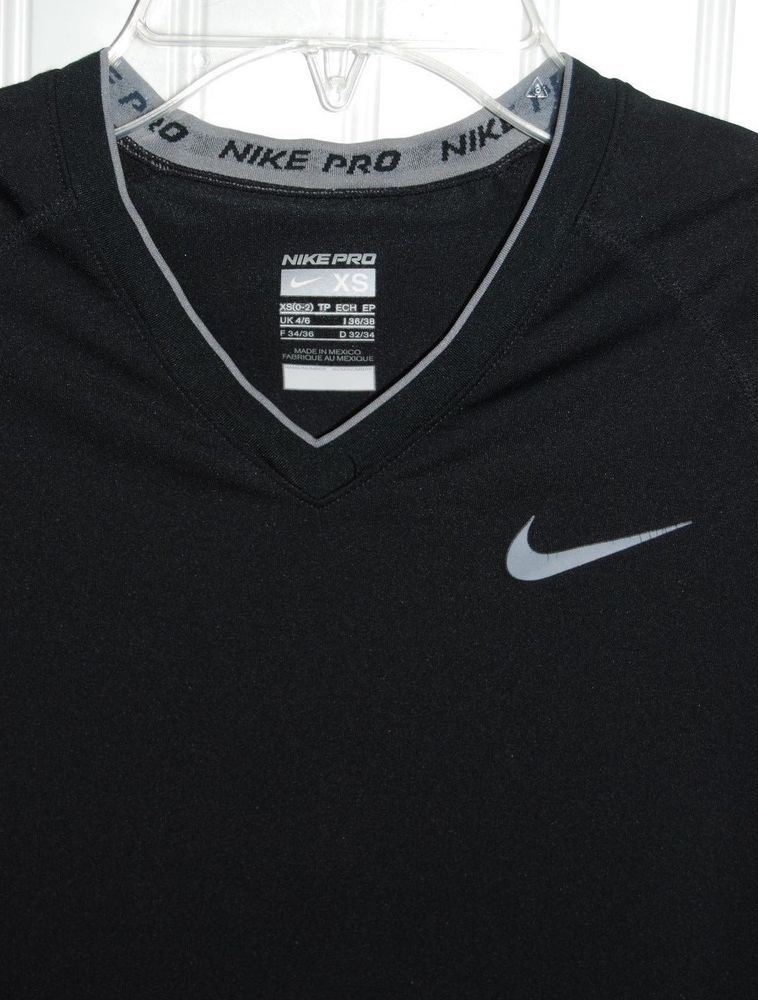 1dcdabfa4 NIKE PRO Women's XS 0-2 Short Sleeve Black Dri Fit Shirt Top V Neck Stretch  #Nike #ShirtsTops
