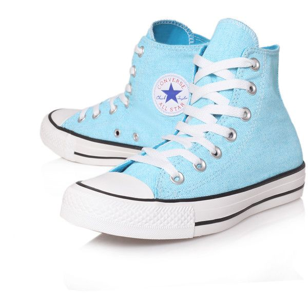 Converse Ct Wash Neon Hi Blue ($44) ❤ liked on Polyvore