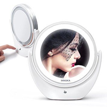 INNOKA Makeup Mirror LED Adjustable Light 1X 5X Magnifying Double Sided Vanity Mirror 360… In 2019 - Contemporary magnifying makeup mirror Top Design